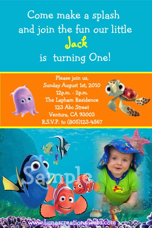 finding nemo baby shower invitations